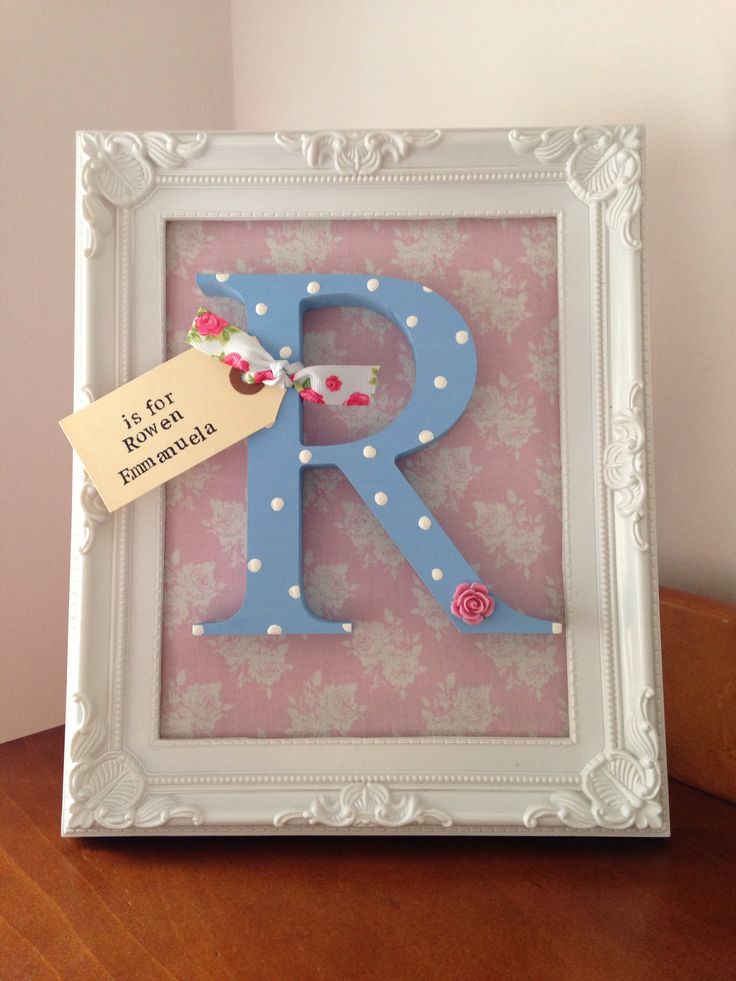 Beautiful personalised framed initial nursery decoration