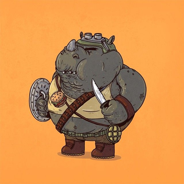 """""""Chunky Rocksteady"""" - TMNT    morbidly obese iconic pop culture characters, by Chicago based illustrator Alex Solis    his webpages: (1) Society6 http://society6.com/artist/alexmdc (2) Cargo Collective http://cargocollective.com/oddworx (3) Facebook https://www.facebook.com/alexmotiondisorderz (4) Instagram http://instagram.com/alexmdc (5) Threadless https://www.threadless.com/@alexmdc"""