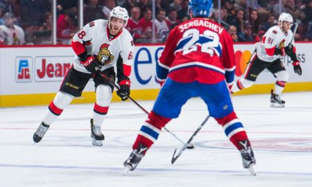 September 29, 2016: Senators Mike Hoffman looking for someone to pass in front of Canadiens Mikhail Sergachev during the Ottawa Senators versus the Montreal Canadiens preseason game at Bell Centre in Montreal, QC (Photo by David Kirouac/Icon Sportswire)