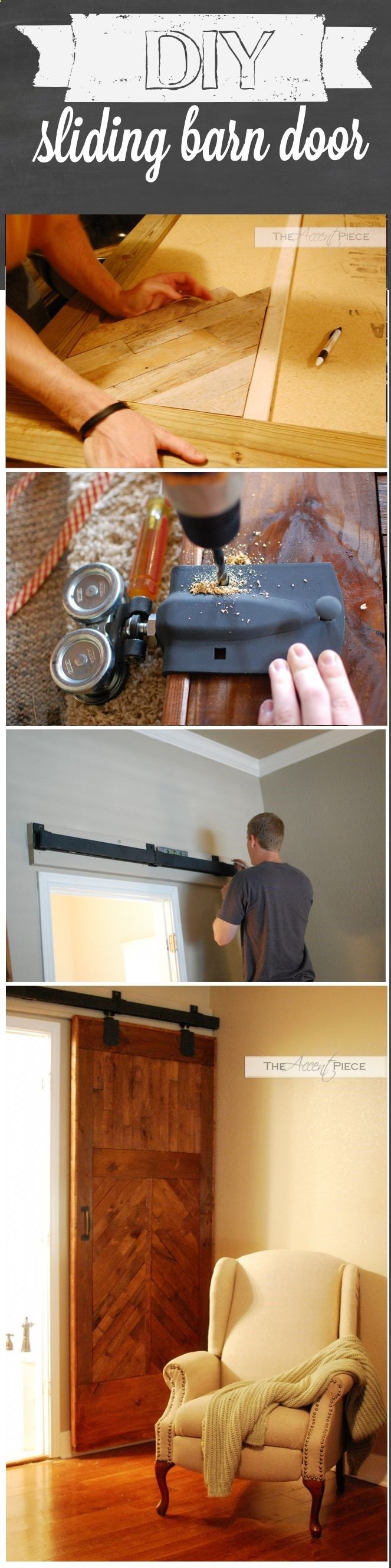 DIY Sliding Barn Door! Wonder if we could do this instead of French doors to the office... Hmmm