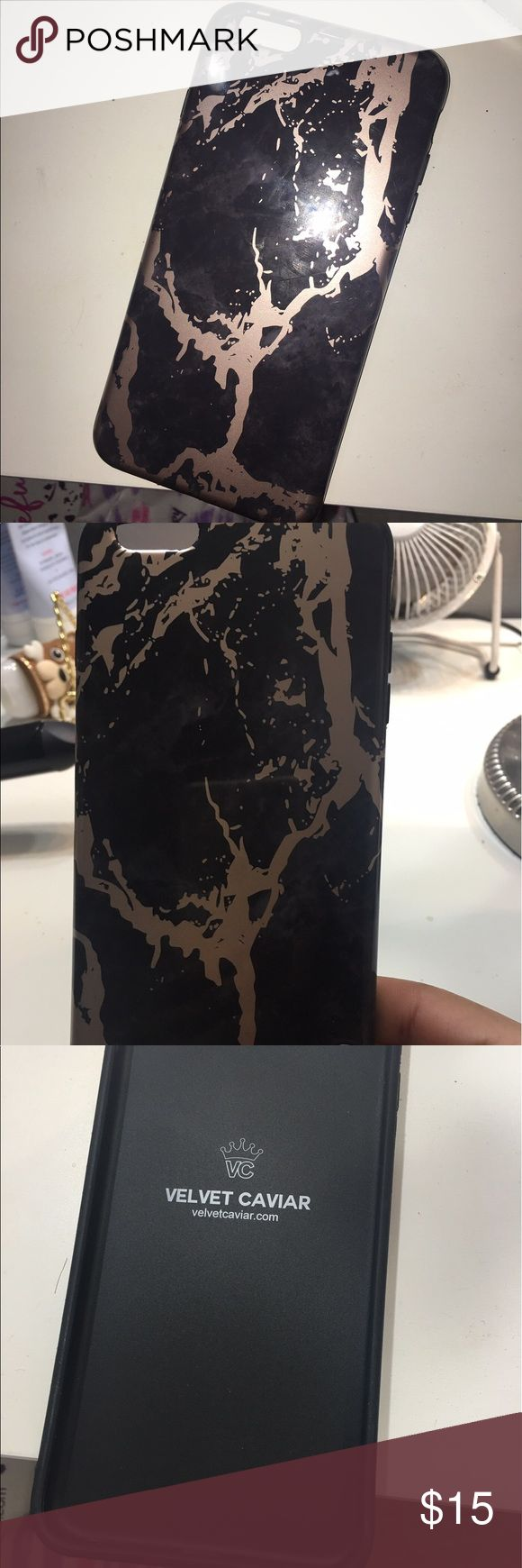iPhone 6s Plus phone case Velvet Caviar black marble rose gold chrome has couple of scratches but nothing too crazy a great case all in all very good quality velvet caviar Other