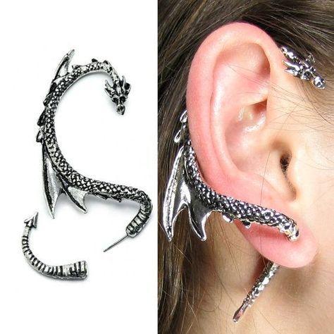Dragon Ear Cuff Cool Dragon Ear Wrap Silver Dragon Ear Cuff Jewelry Unique Silver Dragon Ear Wrap for Men and Women Silver Phantom Jewelry – hhzauberer .