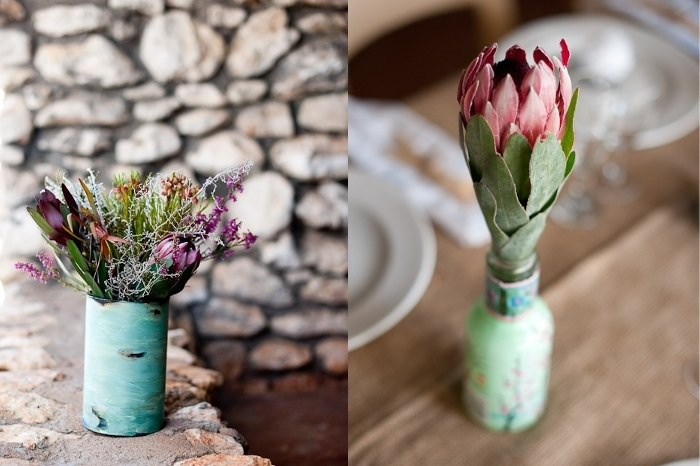 fynbos and proteas in jars, cans and pretty things