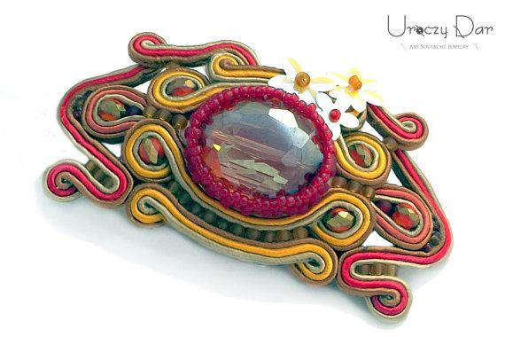 Soutache hair clip with crystals