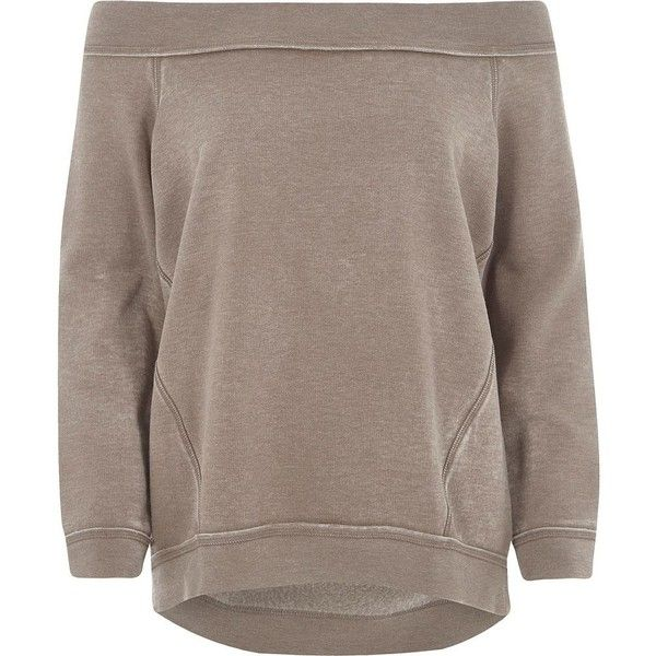 River Island Beige burnout bardot sweatshirt ($56) ❤ liked on Polyvore featuring tops, hoodies, sweatshirts, beige, hoodies / sweatshirts, women, tall sweatshirts, hooded pullover sweatshirt, hooded sweatshirt and tall hoodie
