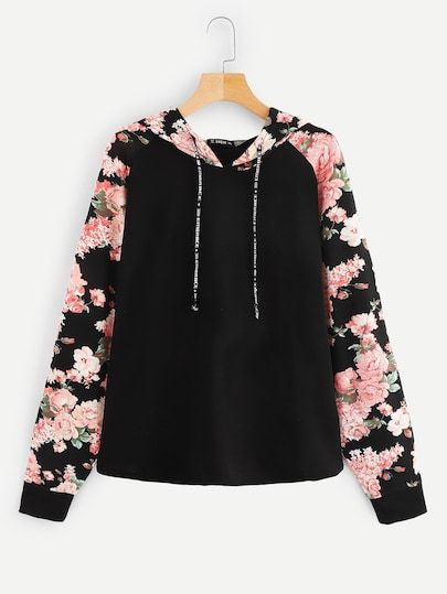 4e2a3e6882 Plus Floral Raglan Sleeve Drawstring Hoodie | refashion,sewing and ...