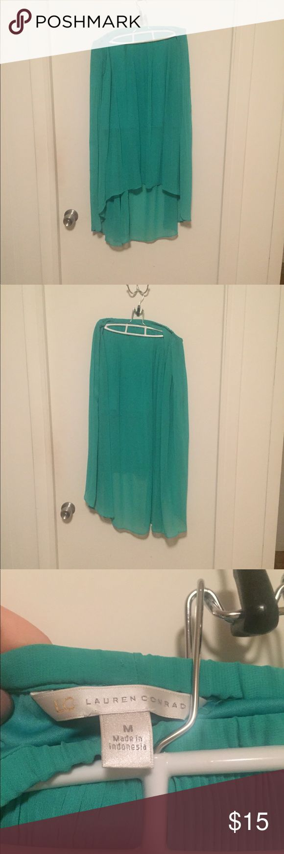 LC Lauren Conrad High-Low Maxi Skirt LC Lauren Conrad High-Low Maxi Skirt. Turquoise. Pleated at the top. Very flowey and super cute with a white tank and jean jacket. Like-new and only worn a few times! LC Lauren Conrad Skirts High Low