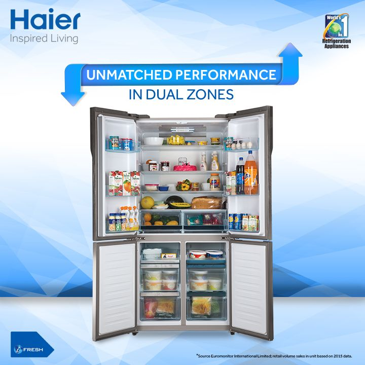 Give a modern minimalist feel to your kitchen with Haier 4 door #Refrigerator. Its Dual Zone Humidity control feature is truly unique and ensures smoother performance in both dry and humid regions.