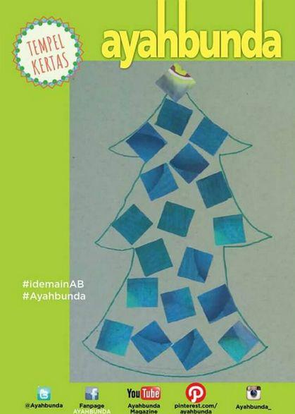 """Bermain """"TEMPEL KERTAS"""" yang dapat merangsang motorik, fokus dan juga ketelitian balita Anda.  Siapkan kertas karton atau bekas kardus, lalu bikin pola berbagai macam bentuk, seperti pohon natal, rumah-rumahan atau mobil. Potong kecil-kecil kertas berwarna dan siapkan lem. Ajak balita Anda untuk menempelkan kertas warna warni di pola gambar yang sudah tersedia."""