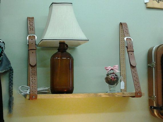 Re-Purposed Wall Shelf that Hangs from Recycled Belts. FREE SHIPPING on Etsy, $38.00