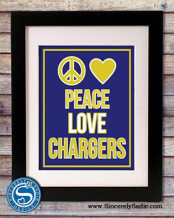 Peace Love Chargers 8x10 Print