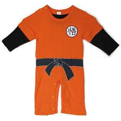*LONG SLEEVES* Dragonball Z Son Goku KungFu Baby Bodysuit Party Costume Dress