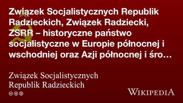 """""""Związek Socjalistycznych Republik Radzieckich"""" på @Wikipedia:"""