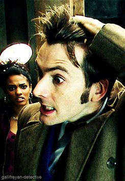 """TENNANT'S HAIR  I love how Martha is just sitting there in the back watching, with such a confused look on her face going, """"how is that hair even possible?"""""""