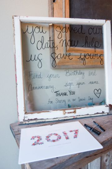 "DIY Wedding calendar guest book. ""You Saved Our Date, now help us save yours. Find your birthday and Anniversary  and sign your name"""