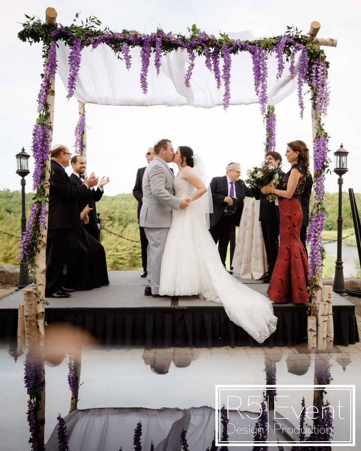 First Kiss As Husband And Wife!! Beautiful Birch Chuppah