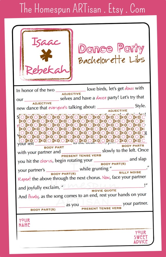 Bachelorette Party Wedding MAD LIBS Game - Dance Party - Bridal Shower - Lingerie Party - Modern via The Homespun ARTisan on Etsy