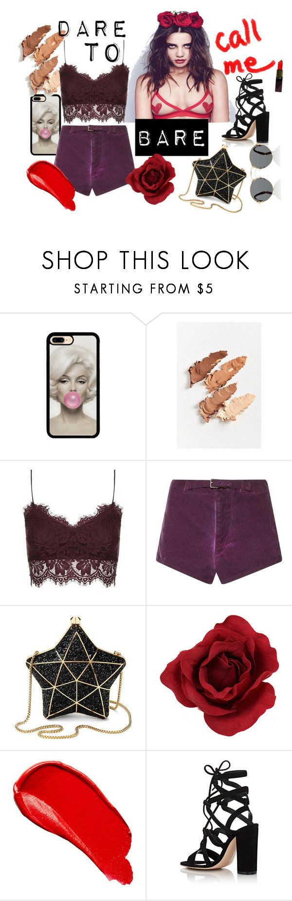 """BARE ESSENTIALS"" by mariewagas ❤ liked on Polyvore featuring MILK MAKEUP, Topshop, Etro, Aspinal of London, Burberry, Gianvito Rossi and Prada"