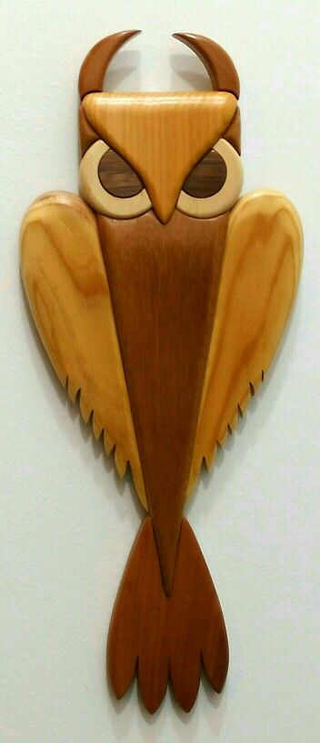 Art Deco Intarsia Owl Sculpture