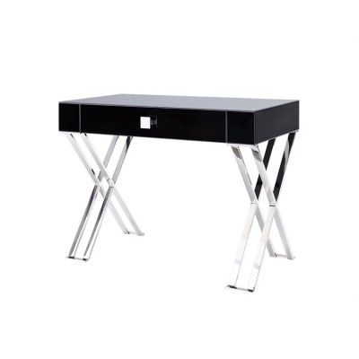 Black glass console desk for a modern or contemporary home - 'Richmond'  by Liang & Eimil #4livinguk