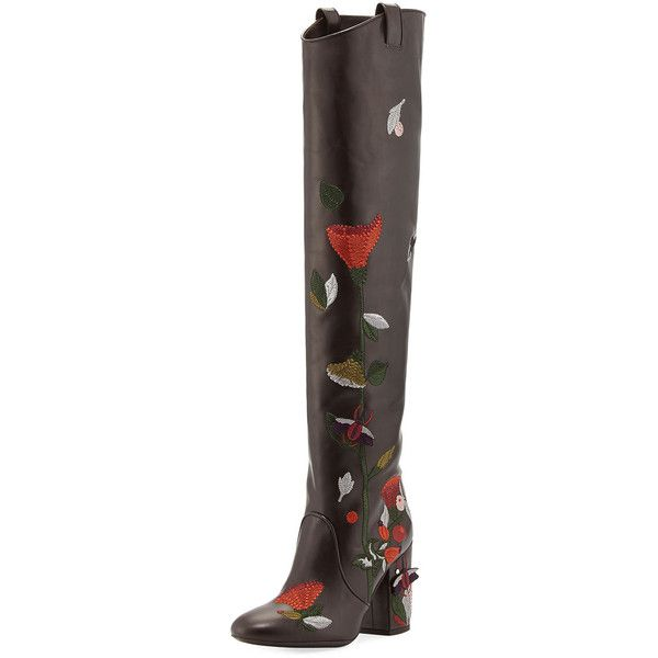 Laurence Dacade Silas Embroidered Leather Knee Boot (25,055 MXN) ❤ liked on Polyvore featuring shoes, boots, brown pattern, shoes boots, knee high cowboy boots, western boots, stretch knee high boots, knee-high boots and brown cowboy boots