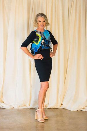 D.EXTERIOR 3/4 SLEEVE DRESS WITH TURQUOISE SILK OVERPIECE