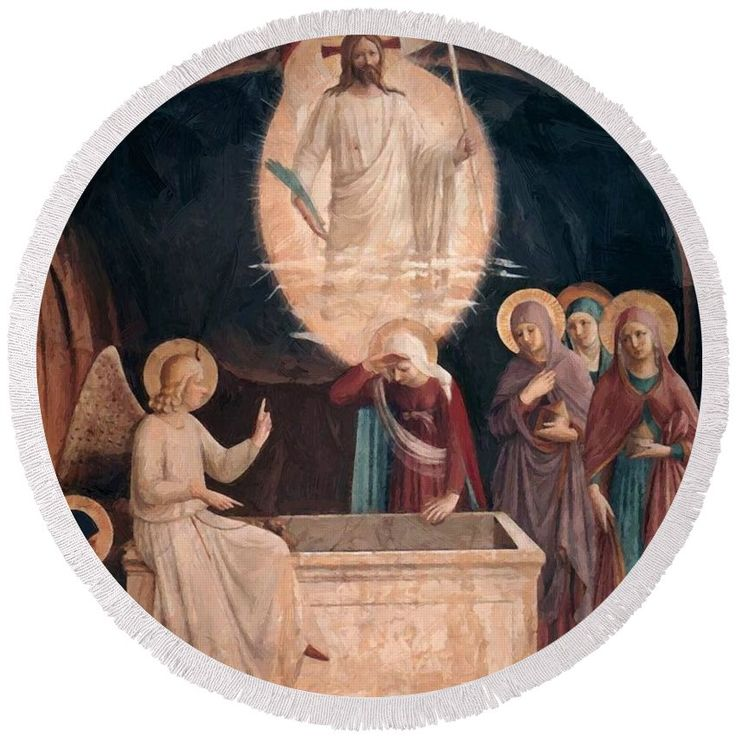 Resurrection Round Beach Towel featuring the painting Resurrection Of Christ And Women At The Tomb 1442 by Fra Angelico