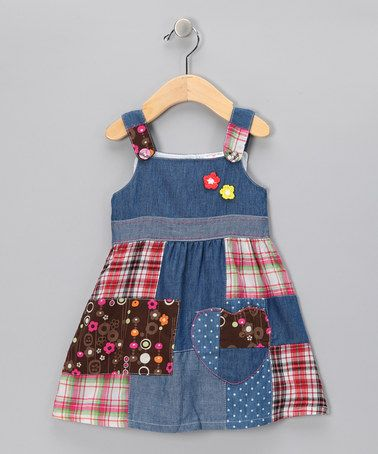 I'm a sucker for patches...  $22.99 Denim & Red Plaid Patch Dress - Infant, Toddler & Girls by the Silly Sissy on #zulily today!