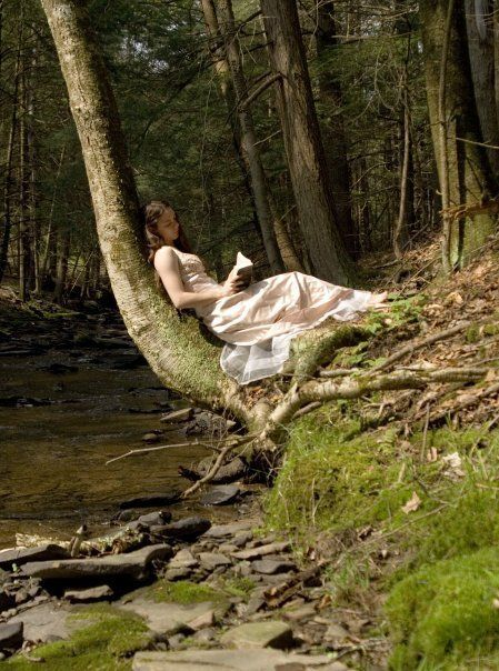 """Maybe it's the setting in the forest or the creek that reminds me of my Gram's house, but I love this picture: """"Girl Reading in a Forest"""""""