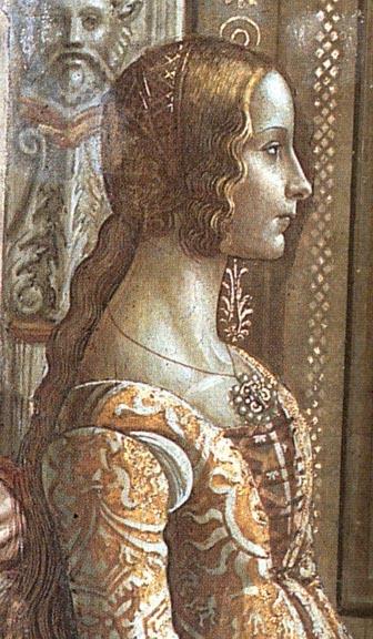 Domenico Ghirlandaio (1449–1494), Ludovica Tornabuoni , particolare dell'affresco Natività-di-Maria ,1485-90 , Cappella Tornabuoni , chiesa di Santa Maria Novella , Firenze . Ludovica era la figlia del committente , il banchiere Giovanni , zio materno di Lorenzo il Magnifico.