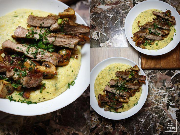 Serowa polenta z kaszy kukurydzianej, pieczarki i wieprzowina - obiad w 40 minut. Szybki obiad z polentą.