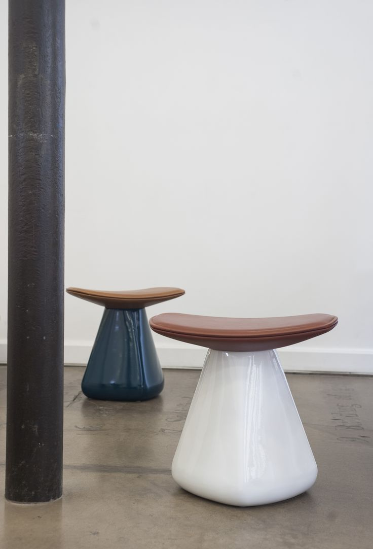 DAM stool, ceramic, leather, design Christophe Delcourt for Collection Particulière (contact@collection-particuliere.fr)