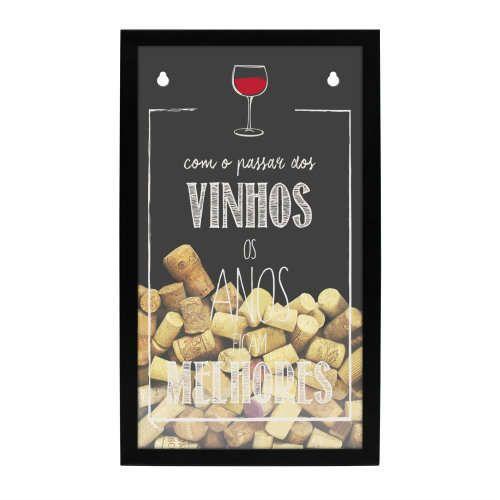 Quadro porta rolhas de garrafas de vinhos - 100 rolhas -  Os vinhos ficam melhores com os anos
