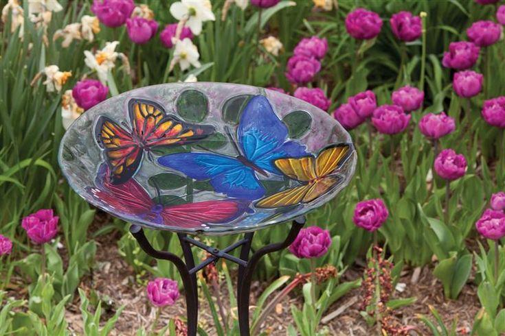 Butterfly Collage, Glass Bird Bath