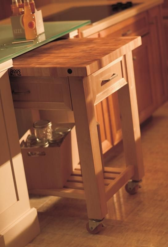 Rolling island cart stored under countertop | create an extra work zone where you need it