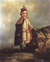 Portrait d'un enfant devant la ville de Varsovie