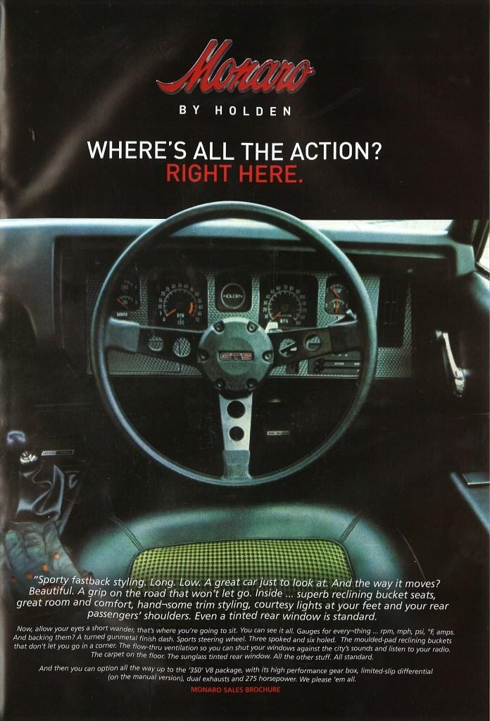 How simple and basic advertising was back then. The Monaro had such a horny interior. Would have seen a lot of action!