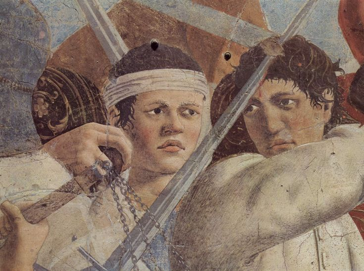 Piero della Francesco, The Battle of Heraclius and Chosroes (detail), ca.1457/8-1465  from Legend of the True Cross cycle  Fresco  (Basilica of San Francesco, Arezzo)