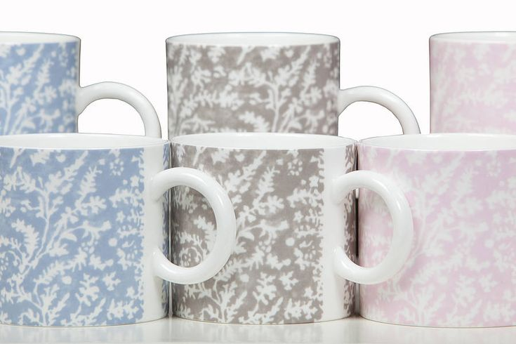 £15 Cotton Lavender Mugs Charming cups and mugs in our delicate cotton lavender sprig design made from fine bone china.  Our new mugs have been made with Polly George in Stoke -on-Trent from fine bone china, and encompass our cotton lavender design (see our zig zag range as well). They will make a lovely addition to any traditional or contemporary kitchen and come in 2 sizes – medium, perfect for coffee and large, perfect for tea.
