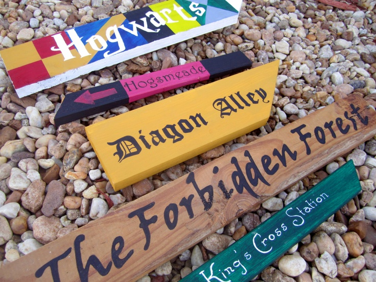 *GASP* Harry Potter Themed Directional Signs, Harry Potter Party Decor, Hogwarts, Hogsmeade, Diagon Alley, The Forbiddden Forest, Kings Cross. $50.00, via Etsy.
