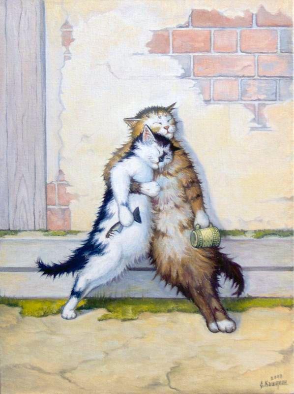 Картинки смешные, открытки пьяные кошки