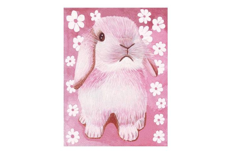 A personal favorite from my Etsy shop https://www.etsy.com/listing/539501625/nursery-wall-art-pink-rabbit-with