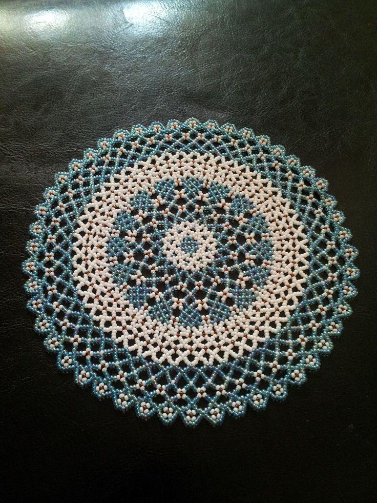 Hand Beaded Doily/ Coaster picclick.com