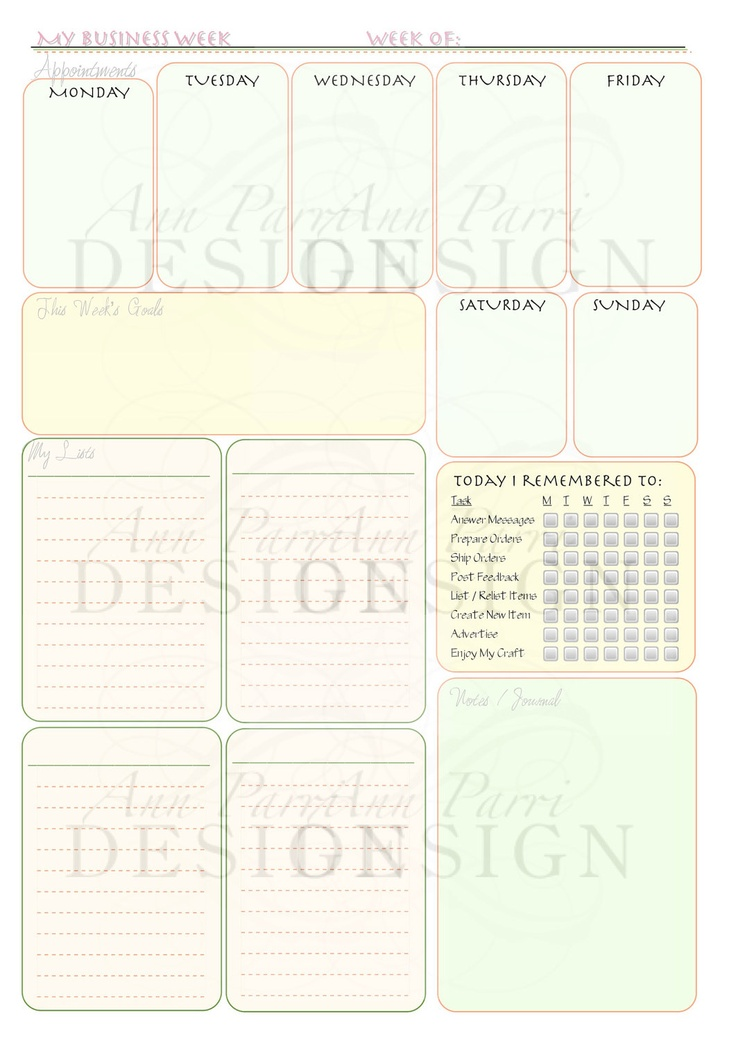 My Business Week Custom Printable Weekly Planner Form - Appointments, Categorized To Do Lists, Goals Customized Daily Reminders Checklist.