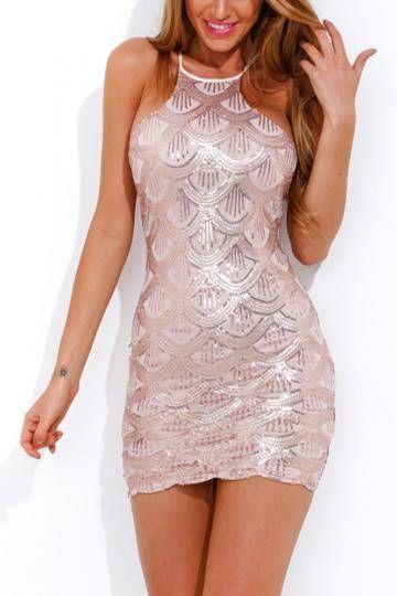 Pink Halter Scallop Sequin Dress - YOINS