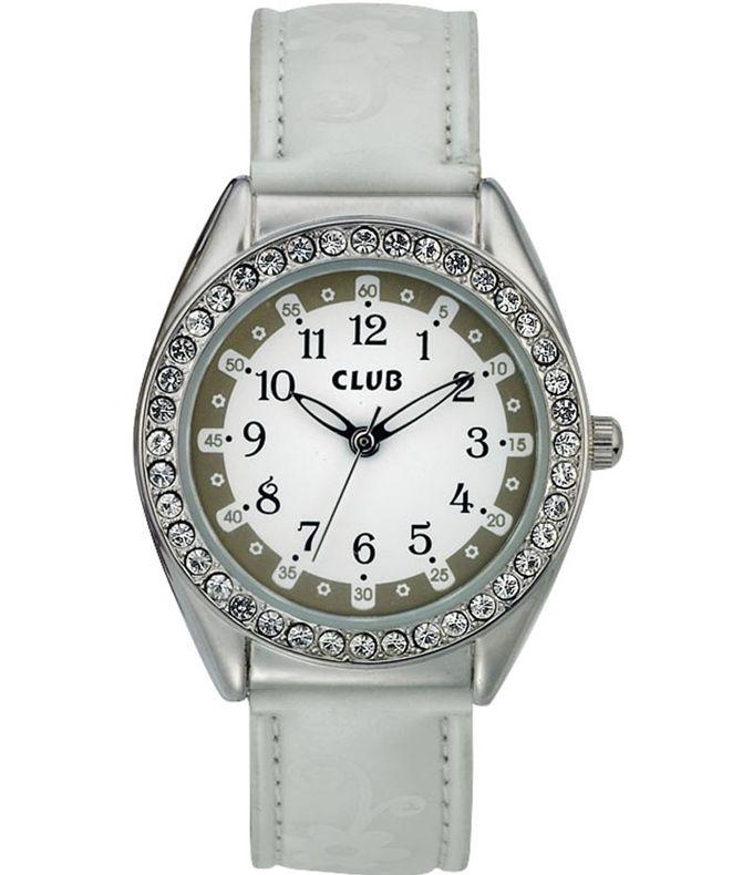 Club jente klokke med steiner - hvit