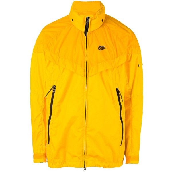 Nike NikeLab x Stone Island wind runner jacket ($683) ❤ liked on Polyvore featuring men's fashion, men's clothing, men's activewear, men's activewear jackets, yellow and nike