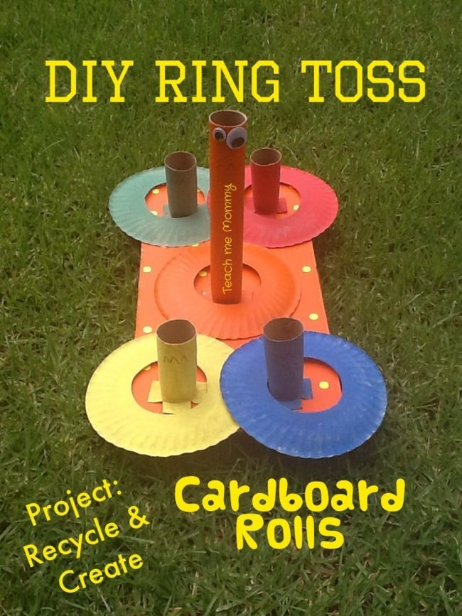 """You don't even have to be outside for this fun, safe and recycled ring toss game! Learn how to make one yourself with """"Teach Me Mommy."""""""