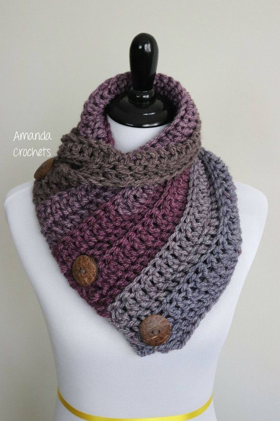 Crochet Cowl Pattern-Instant Download-3 Button Cowl Pattern-Neckwarmer-Button  Scarf-Crochet Pattern- ba86f03ff6