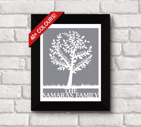 Handmade by FlyingOwlStudio on Etsy - This beautiful Family Tree Papercut is personalized with up to 4 names on the branches, with a last name or message at the bottom. It is a unique and meaningful piece of art for your own home, or a sentimental gift for a loved one. There are over 40 colours to choose from, to easily match any décor. This papercut comes unframed. The delicate cuts will look stunning in any simple frame of your choosing.